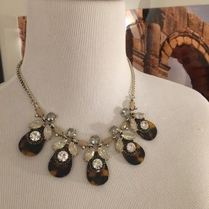 LOFT statement necklace tortoise and crystals